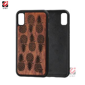 Diseño del teléfono celular de piña Mobile Hard Case para el iPhone X híbrido de lujo de madera Capa entra el teléfono móvil de la contraportada para el iPhone