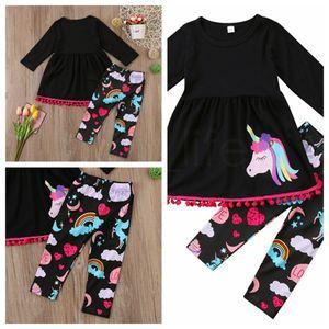 Unicorn Girl Baby Vestiti Tute Toddler Kids Outfit Stampa Casual Top Abito lungo arcobaleno Pantaloni IIA13