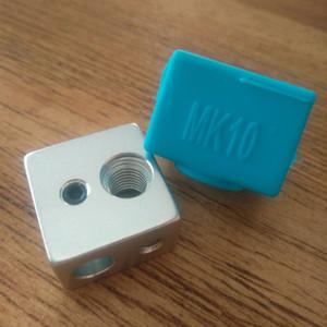1pc MK10 chaussette en silicone + 1pc bloc de chauffage (fileté M7) pour pièces d'imprimante 3D Wanhao i3 QIDI TECH Flashforge