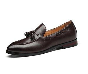 Moda hecha a mano de la borla mocasines Negro inferior de cuero genuino caballero moda estrés zapatos hombres negocios zapatos de conducción 1h42
