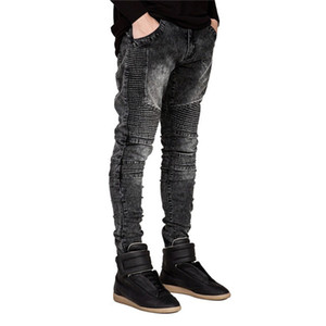 Men Biker Jeans Ripped Denim Slim Fit Jean Pants Crease Designer Hip Hop Skinny Jeans With Mens Trousers Dropshipping