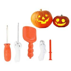 Abóbora Carving Kit para Crianças 5 pçs / set Fácil Halloween Pumpkin Carving Conjunto de Ferramentas com 10 Stencils Carving Multi-funcional de Aço Inoxidável DIY