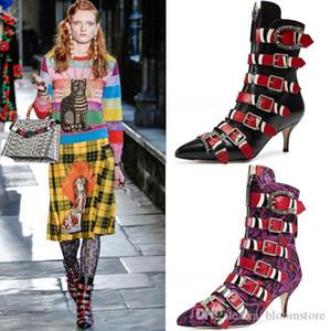 Moda Apontou Toe Mulheres Ankle Boots Kingsnake Botas de Fivela Senhoras Botas Da Motocicleta Passarela Gatinho Saltos Bombas Tamanho Grande 34-43