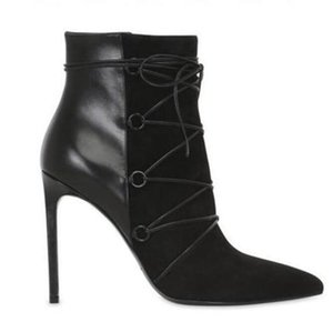 2018 new women gladiator boots point toe patchwork leather ankle bota lace up booties suede booties thin heel 12cm party shoes