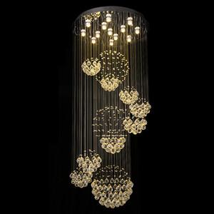 Araña moderna grande de cristal del accesorio ligero de la lámpara del techo del vestíbulo Escalera Escaleras Foyer larga espiral Lustre empotrado escalera Luz