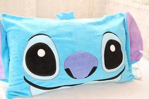 파란색 스티치 베개 커버 짧은 플러시 소프트 베개 커버 단일 pillocase