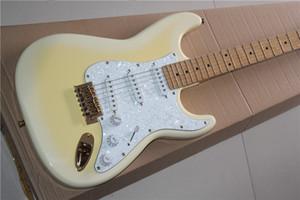 Estilo ST guitarra eléctrica leche círculo blanco cuerpo huangqin blanco perla escudo arce placa de dedo accesorios de oro estilo de firma