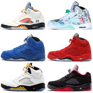 Дешевые Новые 5 5s Wings International Flight Mens Basketball обувь Red Blue Suede низкий Неймар Китай мужчин Sports кроссовки женщин тренеры 7-13