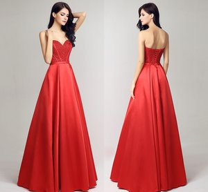 Nouveau printemps et l'été Soutien-gorge formelle robes de soirée en satin rouge Retour longue sangle de perles boule de bal Robes de bal Robes 2018 HY046