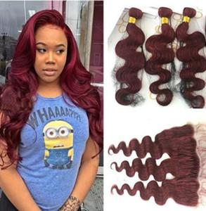 99J тела волны волос с 13x4 кружева фронтальной закрытия бордовый бразильский человеческих волос пучки с закрытием вино красный волнистые волосы
