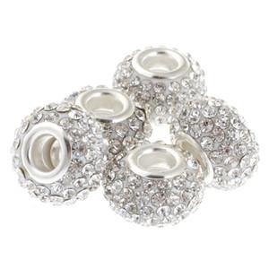 15 MM Top Quality Big Hole Grande Charme Cristal Tcheco Beads fit Pulseira Europeia Charme (10 pcs, branco, 15mm)