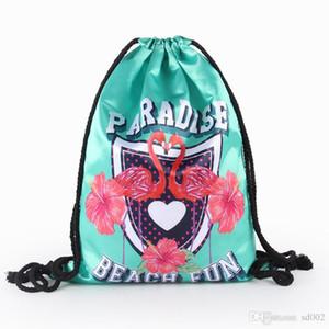 Impreso Flamingo Drawstring Bag Paradise Beach Popular inglés Letter Mochila Pequeñas a prueba de humedad Travel Storage Bags Green 11 8yy dd