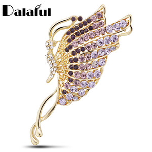 Dalaful Exquisite Schmetterling Broschen Kristall Brosche Für Schal Schnallen Kleid Pin Up Kristall Corsage Für Frauen Z034