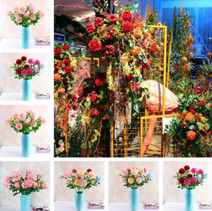 New Fashion 3 Heads 65 * 8cm Artificial Flowers Peony Bouquet 13Colors Silk Bridal Bouquet Vivid Fake Rose for Wedding I261