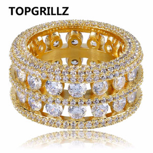 TOPGRILLZ Hip Hop Anel de Latão Cor De Prata De Ouro Congelado Micro Pave CZ 2 Row Maior Largura Anéis Charme Para Homens Mulheres Presentes Jóias