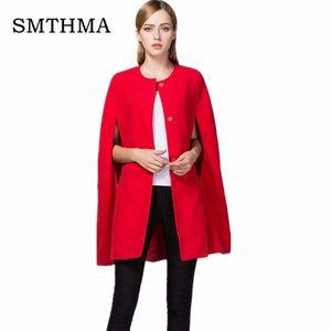 SMTHMA ALTA QUALITÀ Fashion 2017 Designer Runway Maniche a pipistrello da donna Mantello Mantello rosso di Natale
