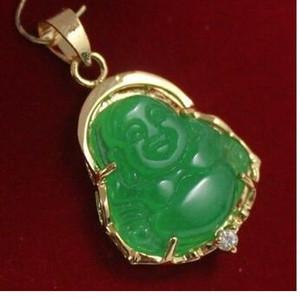 Freies Verschiffen 2 Art glückliche grüne Jade gp Buddha PendantNecklace