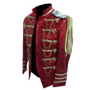 Venta al por mayor Men Stage Wear Chaqueta de traje de hombre para hombre Blazers de lentejuelas rojas Blaser Masculino Silver Chaqueta de lentejuelas con borlas y cadenas