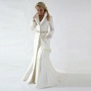 Modern 2019 Capela Trem Inverno Casaco De Casaco De Noiva Mangas Compridas Casamento De Pele casaco Bonito Xale Casaco Tecido De Cetim Com Faux Fur Lantejoula Frisado