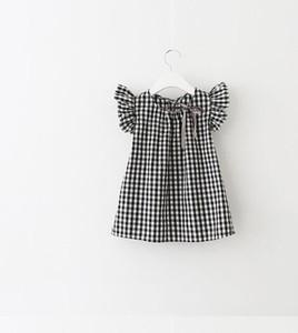 2018 INS 뜨거운 여름 여자 아이 격자 무늬 드레스 아이 둥근 고리 비행 슬리브 우아한 드레스 무료 배송