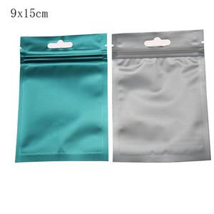 9 * 15 centímetros 100Pcs / Lot Azul claro mate da folha de alumínio Zip fechamento Food Bolsa de armazenamento aperto Seal Package Plastic Bag de acessórios eletrônicos