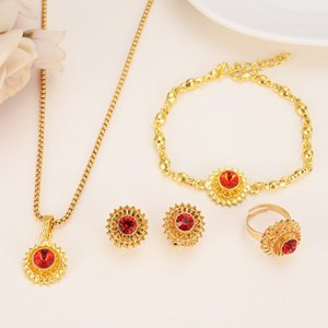 Ethiopian Jewelry Color Earrings Ring BraceletGold Crystal Sets Bride Habesha Red Necklaces Clip Africa Wedding Cz Eritrea Gift Dmgcr
