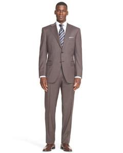 Meistverkaufte hochwertige braune Revers dünne dünne Herrenanzug Anzug geeignet für Hochzeit Bräutigam Trauzeugen Kleid (Jacke + Hose + Weste)