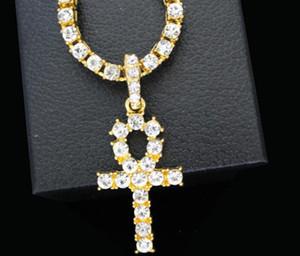 Nuovo arrivo egiziano Ankh Key Of Life ciondolo collana color SilverSilver con Bling strass moda vintage gioielli hip hop