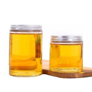Bocaux en verre transparent vide de 17 oz avec couvercles en aluminium brossé pour thé au miel et bonbonnière