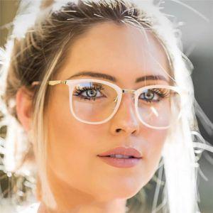 hochwertige legierung rahmen frau brillengestell optische klare linse gläser computer brillen grad brillen