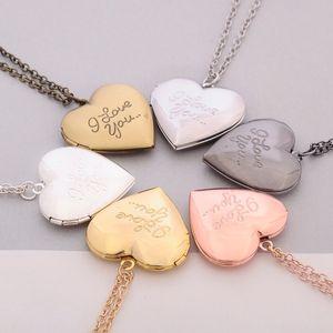 Ich liebe dich Herz Medaillon Halsketten Kette geheime Nachricht Foto Box Anhänger für Frauen Männer Modeschmuck Freies Verschiffen