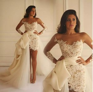 New Arrival Short Prom Dresses Long Sleeves Celebrity Gowns Lace Applique Evening Gowns Custom Made Prom Party Dress