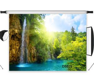 폴리 에스터 비닐 폭포 햇빛 강 숲 자연 배경 사진 스튜디오 배경 사진 소품 장식