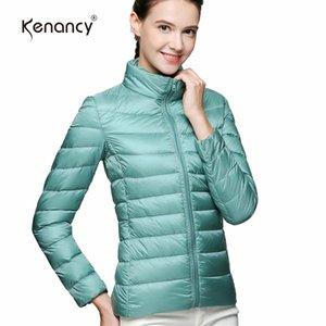 Kenancy Clearance Sale 3XL Plus Size 6 색 솔리드 겨울 쇼트 다운 코트 여성 스탠드 칼라 라이트 다운 자켓 웜 슬림