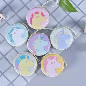 Tema da moda Unicorn Coin Purse Metal Folha de Flandres Rodada Fone de Ouvido Dinheiro Saco Portátil À Prova de Poeira Mini Carteira Popular 1 6bs BB