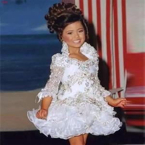 Küçük Kız Abiye 3/4 Kollu Boncuk Kristal Rhinestone Ruffles Kısa Çiçek Kız Elbise 2019 Beyaz Glitz Pageant Elbise