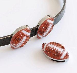 5 pcs 8mm Completa Rhinestone Futebol Encantos de Esportes Encantos de Slides Fit Pet Cat Dog Collar Cintos Pulseira Jóias fazendo