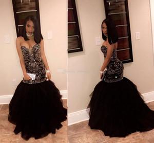 Sparkly Plus Size Sirena Vestidos de baile Cariño Crystal Beading Tulle Vestidos de graduación sin respaldo sexy 2K17 Vestidos de fiesta negros