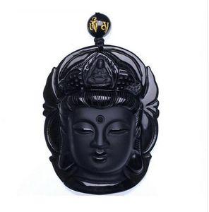 Perde takı Obsidyen Fırçalama Kolye Siyah Guanyin Başkanı Kolye Transhipped Buda Kafa