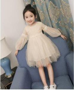 Novos vestidos para meninas Lace Sólidos longo luva Lantern O-Neck Bola Grown Partido Dress crianças bebê crianças roupa