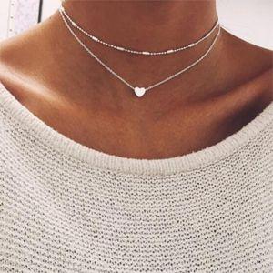 2018 Moda kolye bakır şeftali kalp çok katmanlı klavikula güzel kolye kadın ve kız için ücretsiz kargo