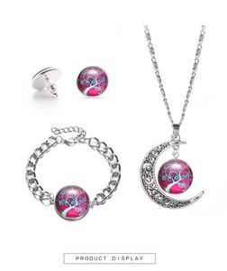 مجوهرات قلادة زجاج هدية مجموعة الزفاف قلادة القرط وحزب سوار مجموعة مجوهرات