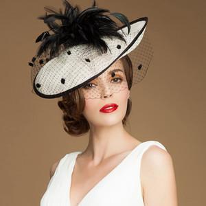Vintage Lady Black and Ivory Hat Perfect Birdcage Headpiece Head Veil Feather Boda Accesorios nupciales Fiesta Mujeres Novia Fascinator Sombrero
