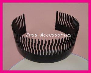 10 PZ 60 ° altezza 4.0 cm lunghezza 24.0 cm Nero Pieno Denti Plastica flessibile Lato pettini, pettine a denti pettinati per acconciature fai da te