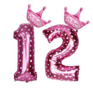 FENGRISE 17 STÜCKE Blau Rosa Nummer Ballon Alles Gute Zum Geburtstag Ballon Geburtstagsparty Dekoration Kinder Jungen Mädchen Party Ballon Nummer