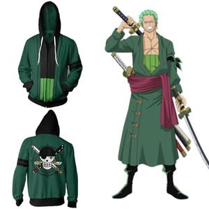Asian Size Japan Anime One Piece Roronoa Zoro Costume Cosplay manica lunga Zipper Coat Jacket Hoodie