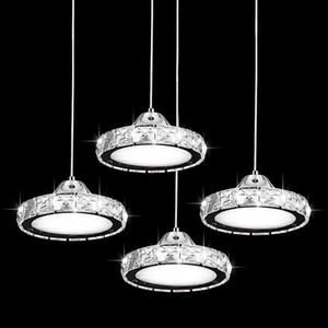 LED три головы прямо тарелка ресторан Ресторан люстра современный минималистский круглый подвесной светильник Кристалл лампа бар Дини еда