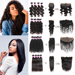 Brazilian Virgin Hair Vendors Straight Body Deep Water Wave Kinky Curly Remy Human Hair Weave Bundles With Closure Frontal Extensions Wefts