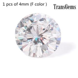 TransGem 4 мм 0.25 ct карат F бесцветный круглый бриллиант огранки Moissanite свободные лаборатории Алмаз драгоценный камень тест как положительный 1 шт.