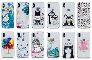 Relevo macio tpu case para iphone xr xs max x 8 7 6 6 s se 5 5S silicone flor cão elefante panda coruja árvore gato unicórnio telefone celular tampa da pele
